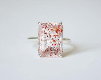Faceted Fire Quartz Ring in sterling silver - sterling silver fire quartz ring - lepidocrocite quartz ring - silver rutilated quartz ring