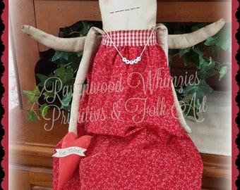 Primtive Valentine Doll, Valentine Doll, primitive doll, heart doll, primitive heart, primtive valentine, valentine, prim doll