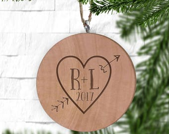 Arrow Heart with Initials Ornament, Engraved Wooden Gift Tag, Engraved Wooden Christmas Ornament, Wood Ornament