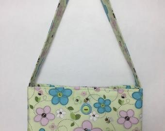 Little Girl's Flowers & Bees Fabric Purse (green, purple, blue)