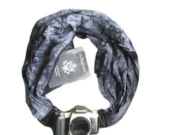 Camera Strap with Lens Pocket -  The Original Camera Scarf Strap With Hidden Pocket - Black and Grey Tye Dye Print