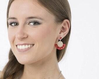 Statement wood earrings, Dangle wooden earrings, Long cool earrings, Dangle sexy earrings, White red earrings, Elegant modern earrings