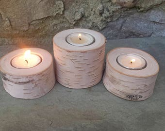 White Birch Candleholders, Carved Real Wood Tealight Holders, Set of 3 Candle Holders, White Birch Pillars with Hole Drilled for Candles