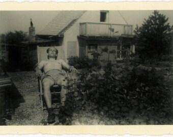 "Antique Photograph ""The Sleeping Sunbather"" Man Guy Sunbath Sleep Napping Tired Father Dad Nap Snapshot Old Black & White Vernacular - 150"