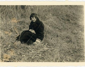 """Vintage Photo """"The Roadside Sitter"""" Photograph Woman Lady Girl Sitting Grass Field Humor Odd Funny Paper Ephemera Snapshot Picture - 41"""