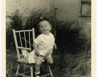 "Vintage Photo ""The Clumsy One"" Snapshot Antique Black & White Photograph Found Paper Ephemera Vernacular Interior Design Mood - 20"