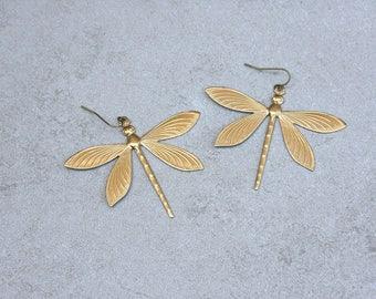 Brass Dragonfly Earrings // Dragonfly Drop Earrings // Gift for Her // Insect Jewelry // Boho Jewelry // Festival Wear // Brass Earrings