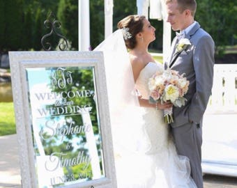 Wedding Welcome Sign Mirror Decal Hashtag Vinyl