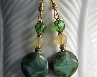 Green Coin Earrings Czech Glass Picasso, (Matte Druk Topaz Czech Glass Bead) & Polished Faceted Green Czech Glass Bead on Gold Metal.