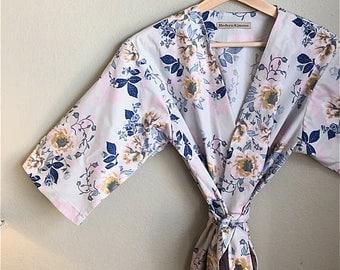 Blue Kimono Robe.  Blue Kimono.  Blue Dressing Gown. Blue Bridesmaids Robe. Kimono. Blue Kimono. Blue Posies Collection.