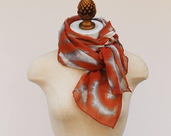 rorschach pattern, copper rust silk chiffon scarf by 88editions