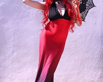 Gothic Dress - Mermaid Red Dress - Steampunk Gothic Dress - Halloween Dress