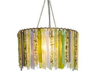 Clover and Green Titania – Large Single Chandelier - Glass Chandelier - Glass Lighting - Pendant Light - Light Fixture - Bohemian Decor