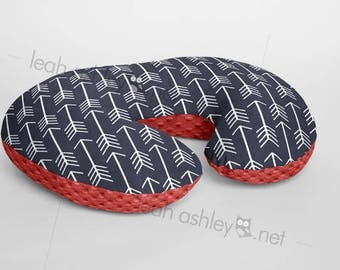 Boppy® Cover, Nursing Pillow Cover - Navy Arrows MINKY with Coral MINKY Dot or MINKY Smooth - Choose Your Minky Type - BC2