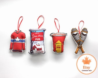 Christmas Ornaments- Set of 4 Canadian theme ornaments- hostess gift under 25