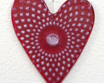 Red Iridescent Heart Ornament #453, with White Pattern of Diamonds