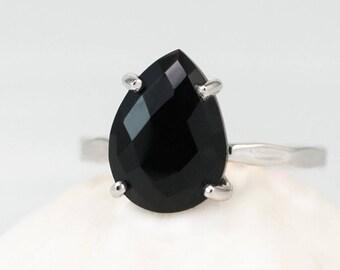 Black Onyx Ring Silver, Black Stone Ring, Gemstone Ring, Solitaire Ring, Stacking Ring, Sterling Silver Ring, Tear Drop Ring, Minimalist