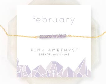 Dainty Pink Amethyst Necklace, February Birthstone Necklace, Light Amethyst Gemstone, Gem Bar Necklace, Meaningful Gifts, Everyday Necklace