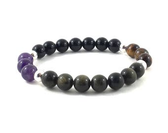 Chakra Bracelet with Amethysts, Onyx, Tiger Eyes, Obsidians Intuition, Balance, Protection, Healing Crystals, His and Her Couples Bracelets