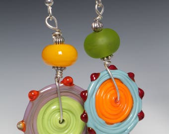 Asymmetrical Colorful  Glass Lampworking Sterling Silver Earrings