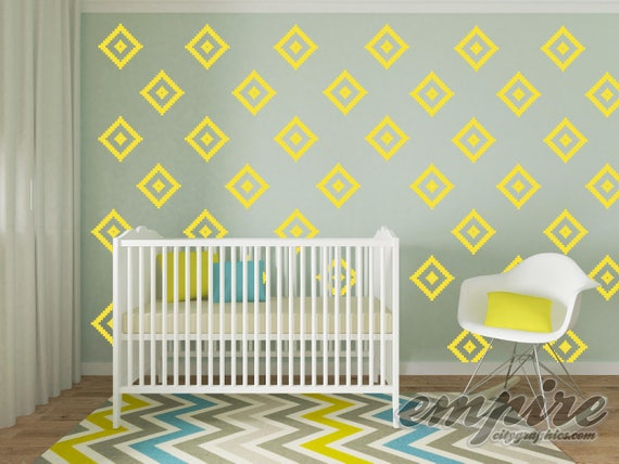 Southwestern Diamond Pattern Wall Decal, Diamond Pattern wall vinyl