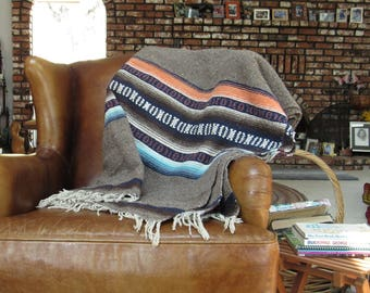 Vintage Mexican Blanket Rug - Woven Wool Cotton Blanket - Camp Blanket - Thick Fringe Rug - 1960s - 87 x 60 Inches - 4 Available