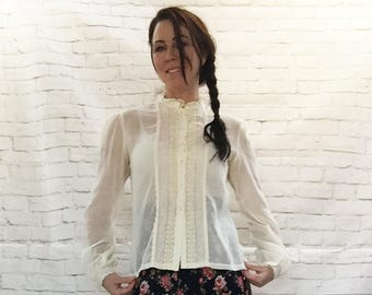 Vintage 70s Gunne Sax Sheer Tea-Stained Victorian Lace Trim Blouse Top M L High Collar Puff Sleeves Steampunk