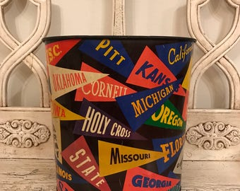 Vintage College Pennant Trash Can - Retro Metal Garbage Pail