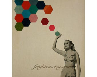Geometric Art, Surreal Art, Retro Dorm Room Decor, Colorful Hexagons 8.5 x 11 Inch Paper Collage Print