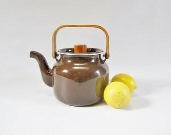 Vintage Stovetop Kettle BROWN Teapot Enamelware Scandinavian MINI with Teak Handle
