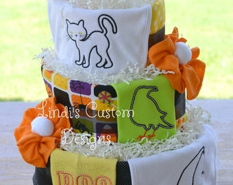 Halloween Diaper Cake, Halloween Baby Shower Table Centerpiece, Unique Baby Gift, Embroidered Halloween Burps and Bibs, October Baby Gift