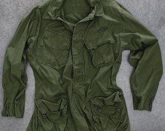 M-65 Green Army Jacket Vintage Grunge Size XL | Vietnam Era 1960s Mens Womens Unisex M1965 | 7ND