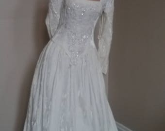 Vintage 70s Crushed Velvet Wedding Gown With Beading Detail Winter Christmas