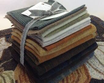 Rug Hooking WOOL PACK, Autumn Wool Pack, Pumpkin Trio Wool Pack, Primitive Rug Hooking, J849, Applique Wool Pack