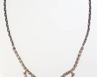 Lovely Vintage Leo Glass Clear Rhinestone Formal Dressy Wedding/Prom Necklace