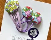 Liberty of London Toddler Set - Mini Pair of Button Hair Ties and Snap Clip for Babies Toddlers or Plaits - cute bright purple yellow floral