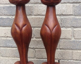 Large Wooden Cat Statues Tall 50's Siamese Wood Feline Figures
