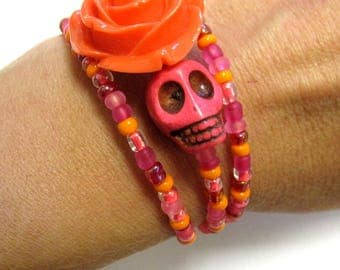 Day of the Dead Pink Skull Rose Bracelet Wrap