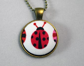 Handmade Fabric Button Necklace  - Lady Bug Theme Necklace  -Fabric Covered Button Necklace