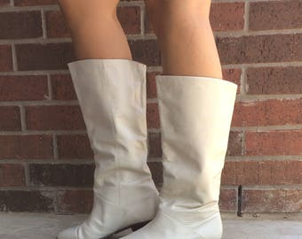 vtg 80s CREAM slouchy PIRATE BOOTS cuff 8.5 leather riding tall knee high boho preppy retro heels shoes flats