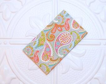 Paisley Fabric Checkbook Cover - Money Holder - Gifts Under 10 - Cover For Checkbook - Coupon Holder