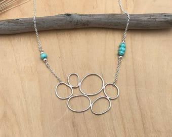 Sterling Silver River Rocks Necklace with Turquoise Beads