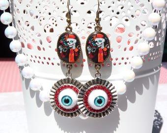 FREE SHIPPING Skull Handmade Resin Dangle Earrings - Eyeball Earrings - Mexican Folk Art Earrings - Day Of The Dead Jewerly - Gothic Jewelry