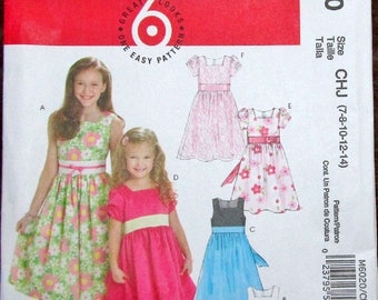 Easy McCall's Sewing Pattern 4961 Girls Tween Fit Flare Party Dress. Contrast Bodice Size 7 8 10 12 14 Chest Bust 26 27 28 30 32 Uncut FF