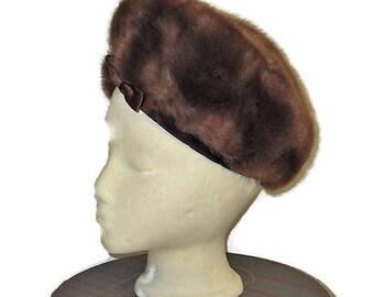 1960s Fur Hat, Faux Fur Hat, Brown Fur Hat Fur, Made in England, Vintage 60s Light Brown Hat, Womens Winter Hat, Brown Faux Fur