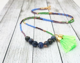 Beaded Tassel Necklace - Neon Green Tassel Necklace, Beaded Necklace