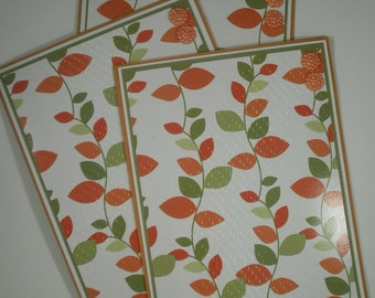 Thanksgiving Card Set, Happy Thanksgiving, Stationery, Set of 6, Leaves, Fall, Autumn, Friends, Family, Giving Thanks