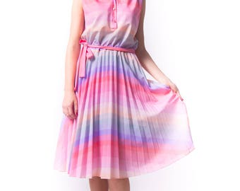 1970's Pastel Rainbow Sun Dress/ 1980s Sherbet Dream Large Pleated Skirt Summer Dress