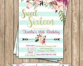Sweet 16 invitation Etsy