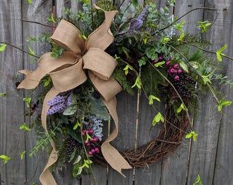 Front Door Wreath, Everyday Wreath with Touch of Purple and Fuchsia, Door Wreath, Front Door Wreath, Spring Wreath, eucalyptus burlap